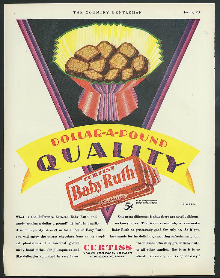 Image for Dollar-a-Pound Quality Baby Ruth Candy Bar ad 1929