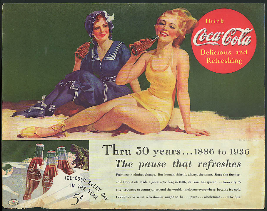 Image for Through 50 years The pause that refreeshes Coca-Cola ad 1936 bathing beauties