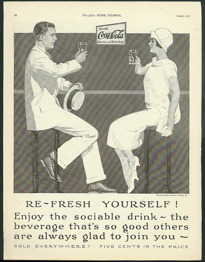 Re-Fresh Yourself! Enjoy the Sociable Drink Coca-Cola ad 1925 couple at fountain