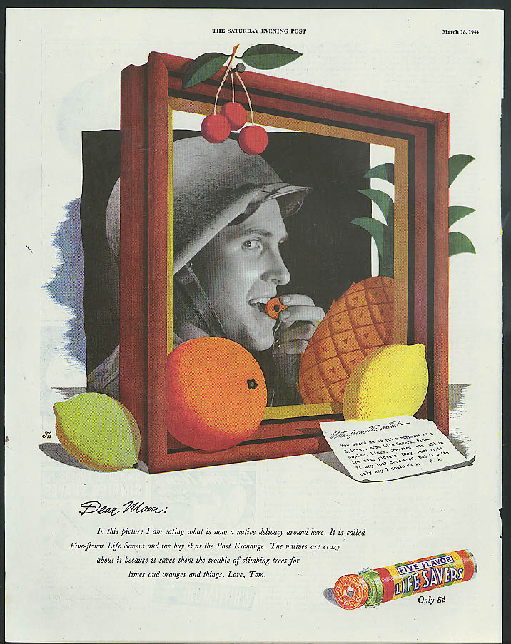 Image for Dear Mom: I am eating a native delicacy Life Savers Candy ad 1944