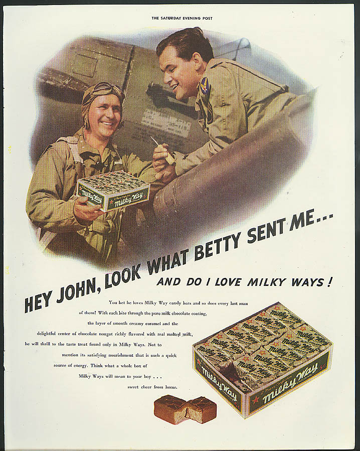 Image for Hey John look what Betty sent me Milky Way Candy Bar ad 1942 aviators