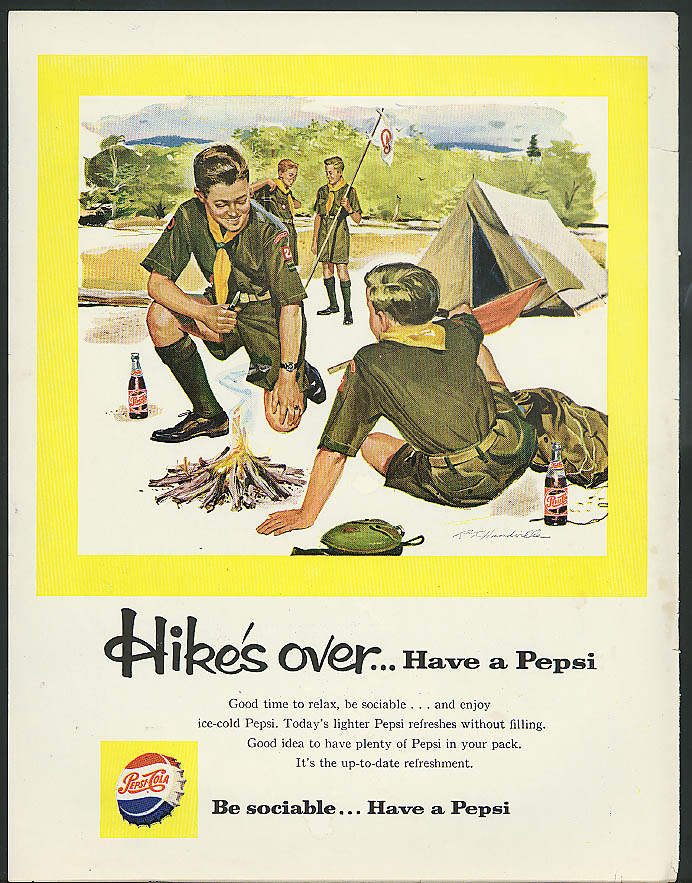 Hike's over . . . Have a Pepsi! Pepsi-Cola ad 1959 Boy Scouts camp out