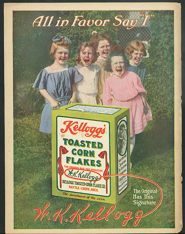 "All in Favor Say ""I"" Kellogg's Toasted Corn Flakes ad 1912"