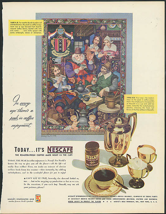 1668 Dutch Burghers drink coffee Nescafe ad 1946 Arthur Szyk artwork