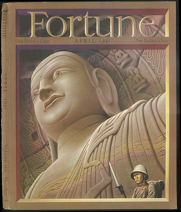 Artzybasheff COVER ONLY Fortune 4 1941 Japanese soldier & Buddha