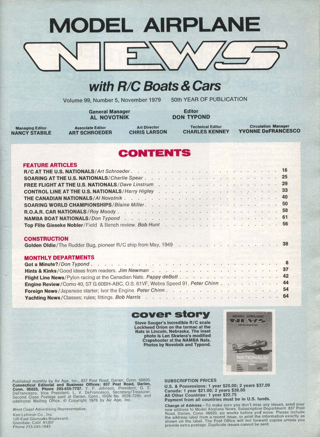 MODEL AIRPLANE NEWS Namba ROAR Canadian Nationals 11 1979