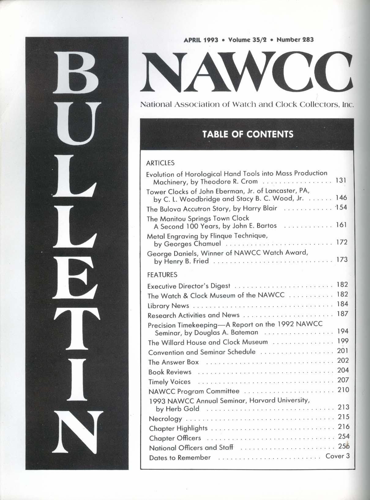 NAWCC Bulletin #283 John Eberman Bulova Accutron Manitou Metal Engraving 4 1993