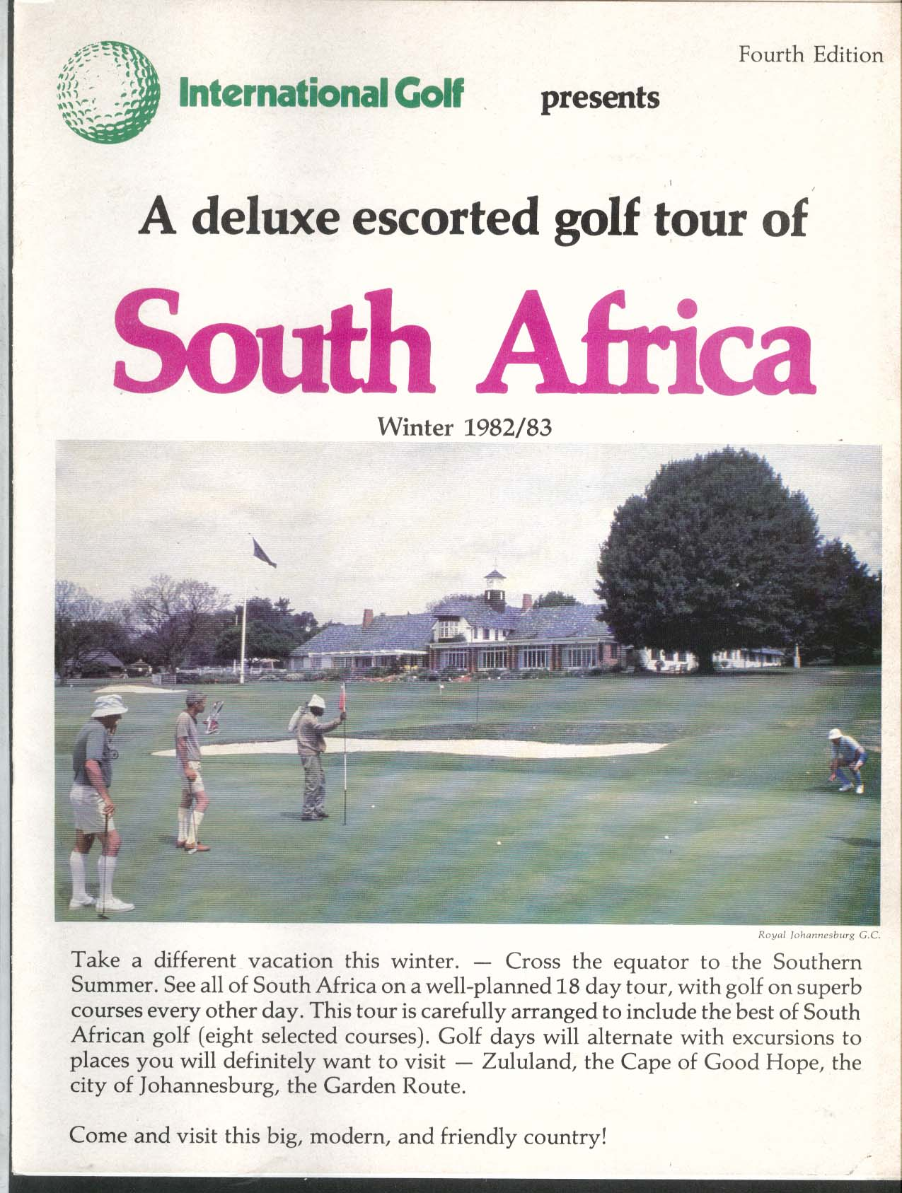 International Golf deluxe escorted golf tour of South Africa Winter 1982 1983