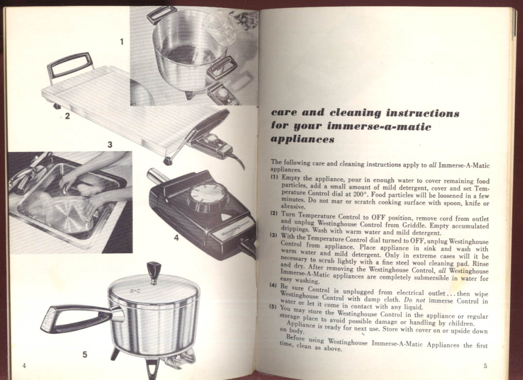 Westinghouse Immerse-A-Matic Appliances Recipe Book & Instructions ca 1950s