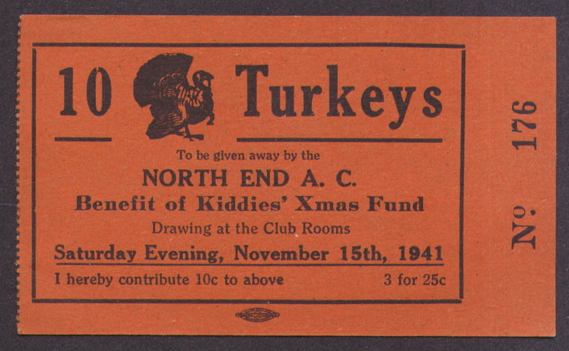 10 Turkeys Raffle Ticket North End AC Kiddies Xmas Fund 1941