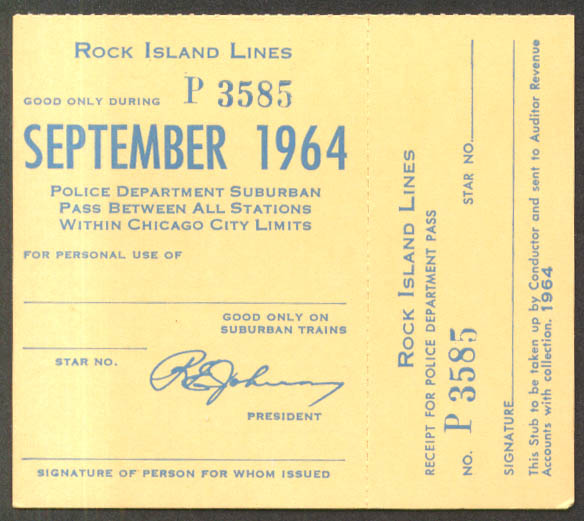 Rock Island Lines Police Department Suburban Pass Chicago City Limits 9 1964