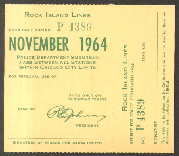 Rock Island Lines Police Department Suburban Pass Chicago City Limits 11 1964
