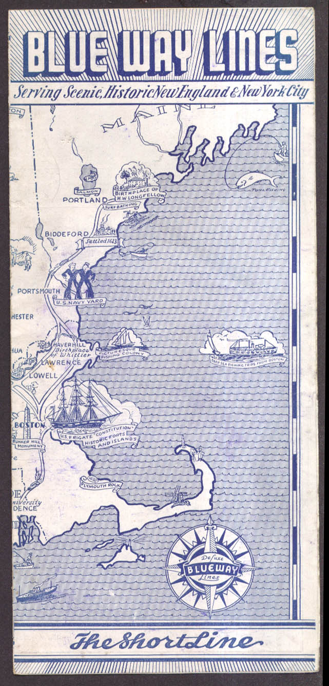 Blue Way Lines Bus Schedule NYC-New England 9/27 1936