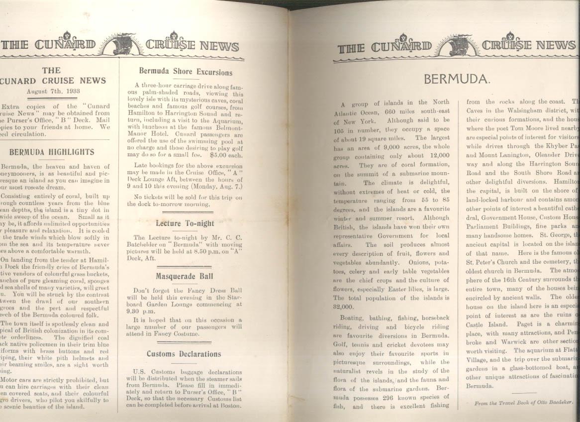 CUNARD CRUISE NEWS Bulletin #4 S S Franconia arrives Bermuda 8/7 1933