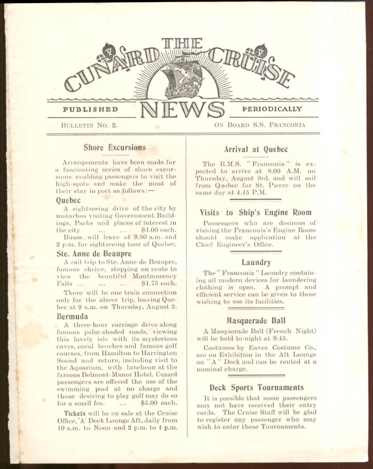 CUNARD CRUISE NEWS Bulletin #4 S S Franconia arrives Quebec 8/1 1933