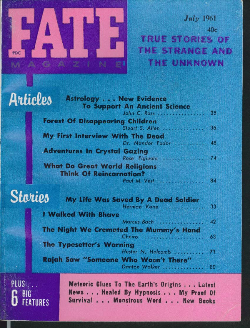 FATE #136 Astrology Forest of Disappearing Children Crystal Gazing 7 1961