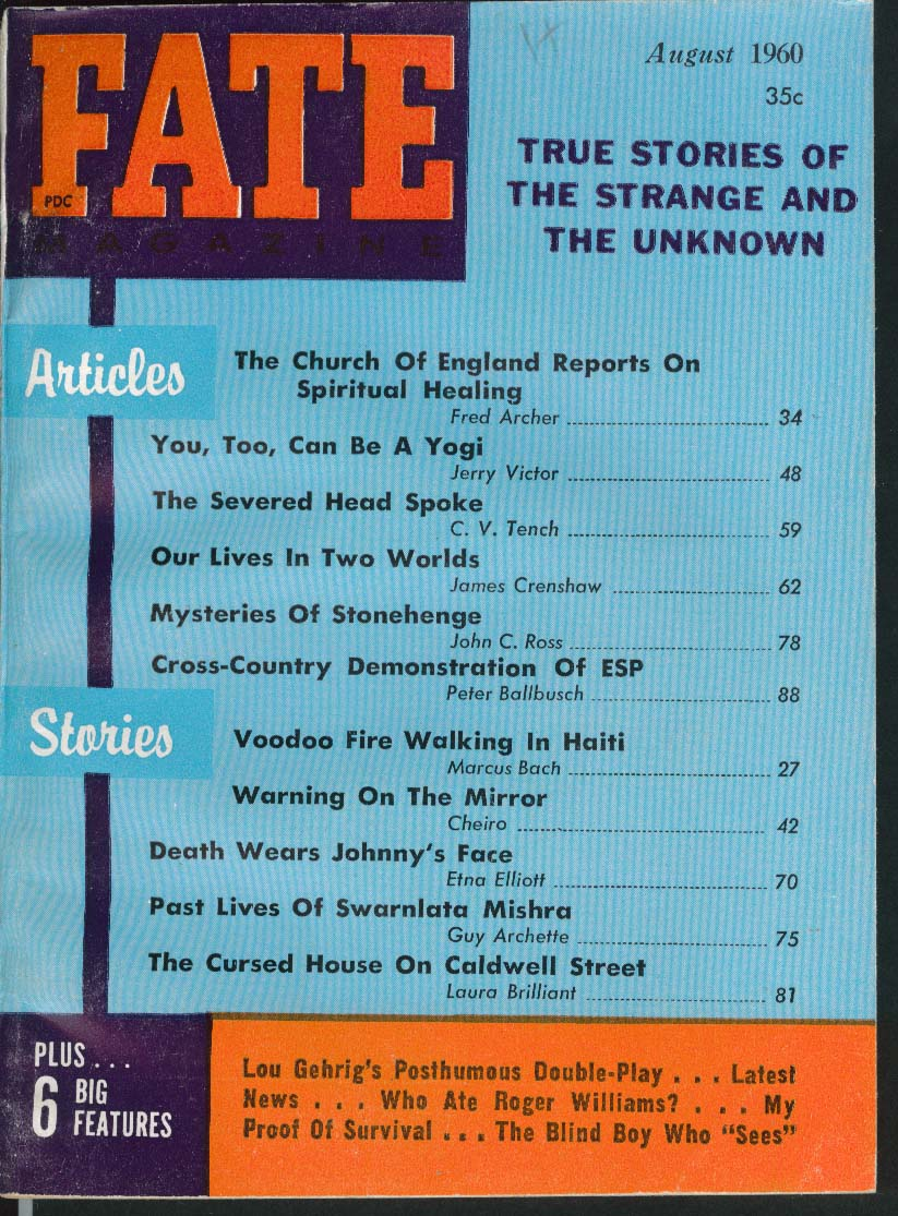 FATE #125 Church of England Spiritual Healing Yoga Stonehenge ESP 8 1960