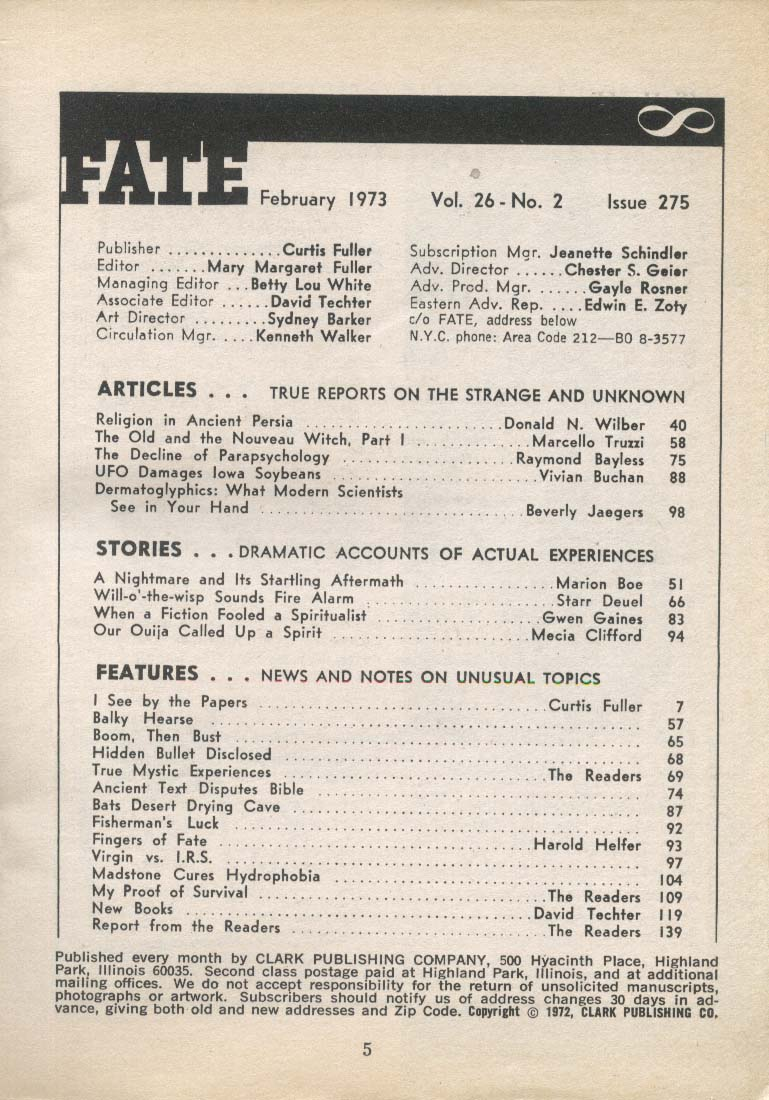 FATE #275 Religion in Ancient Persia Parapsychology Dermatoglyphics 2 1973