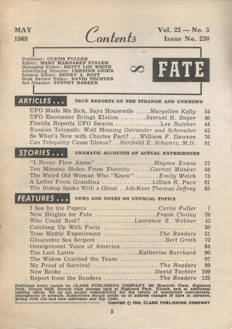 FATE #230 Mayme Evans Russian Telepath Wolf Messing UFO Charles Fort 5 1969