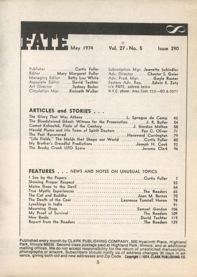 FATE #290 Harold Plume Spirit Doctors Comet Kohoutek UFO 5 1974