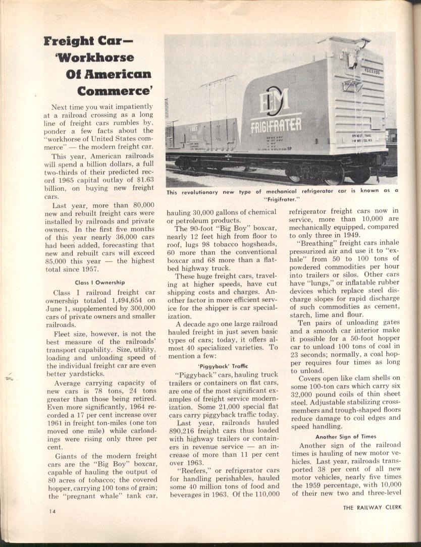 Teamsters vs REA; TWA mediator; new freight cars: RAILWAY CLERK 10/1 1965