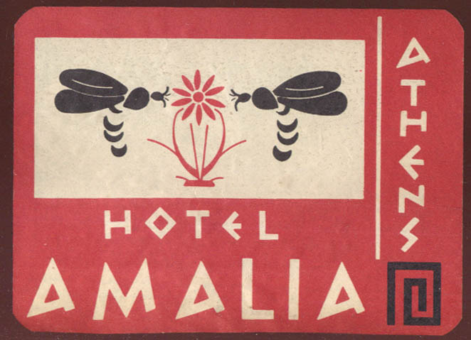 Hotel Amalia Athens Greece baggage sticker ca 1930s