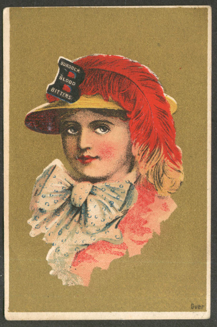 Burdock Blood Bitters gal in feathered hat & bow trade card in German 1880s