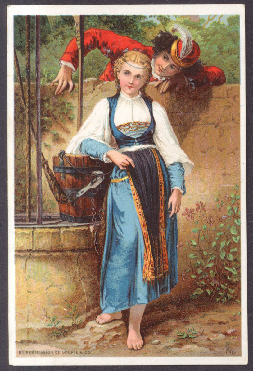 Dr Jayne's Remedies trade card The Talking Well blonde watermaid 1880s