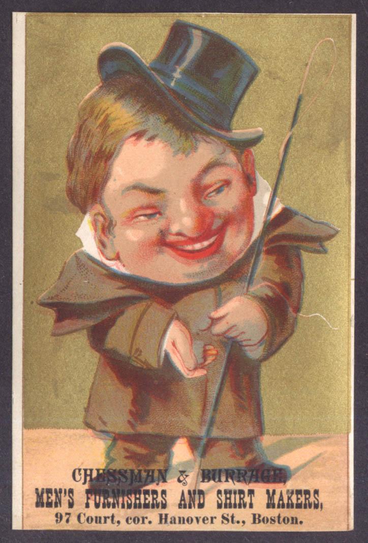 Chessman & Burrage Men's Wear Boston trade card coachman with whip & coins 1880s
