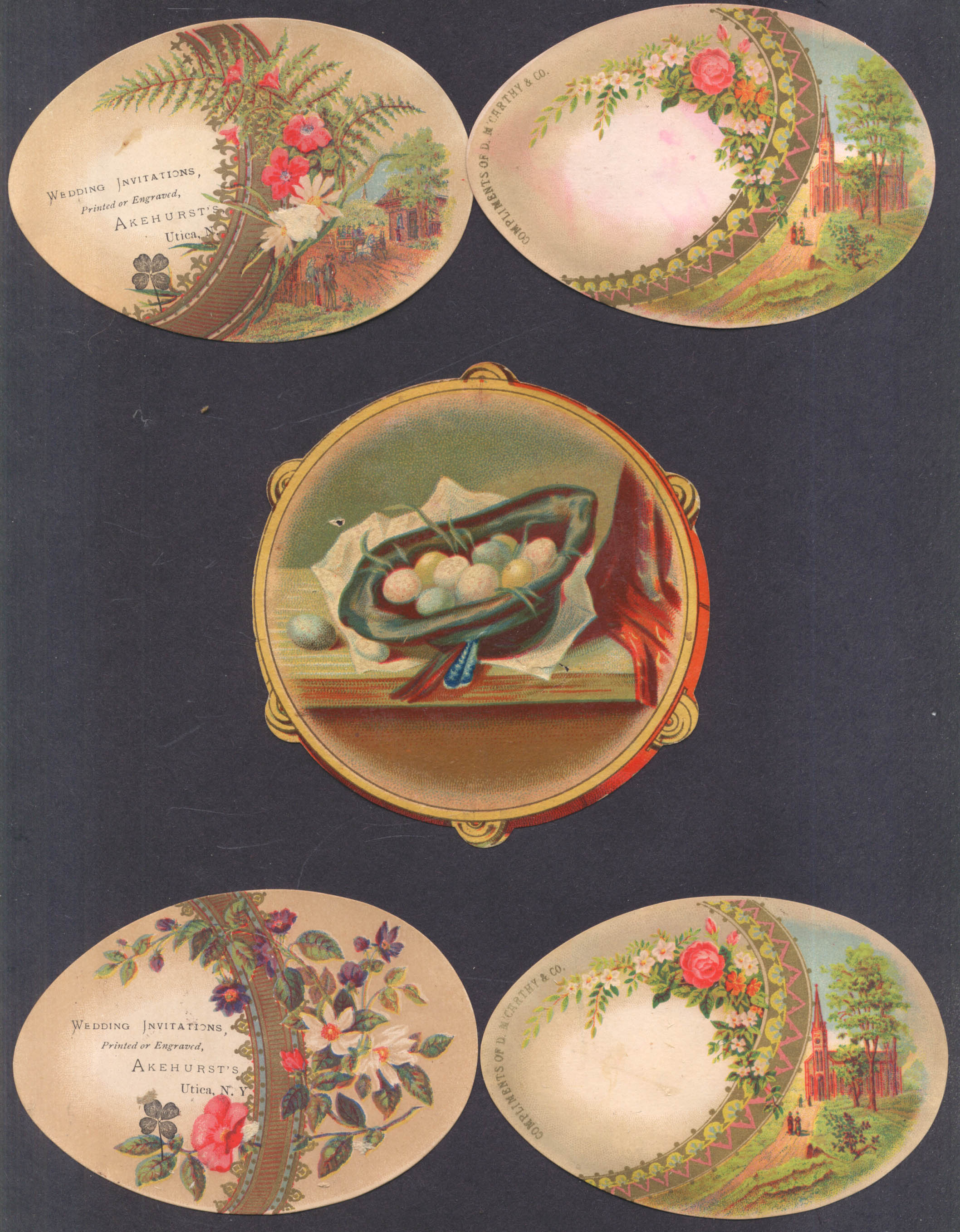 10 Victorian trade cards egg shapes & themes most blank backs 1880s