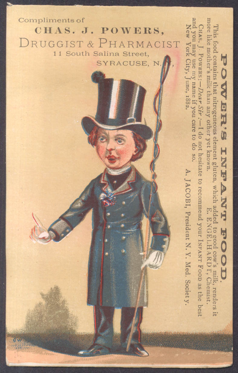 Chas J Powers Infant Food Syracuse NY trade card coachman with whip 1881