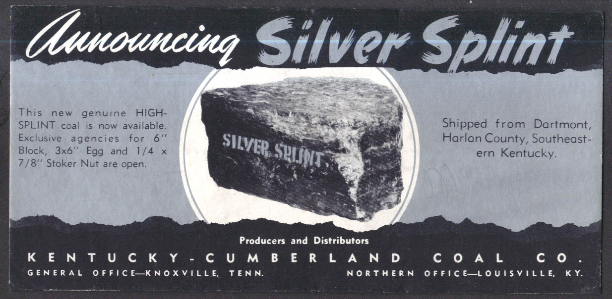 Announcing Silver Splint Coal Kentucky-Cumberland Coal blotter ca 1940s