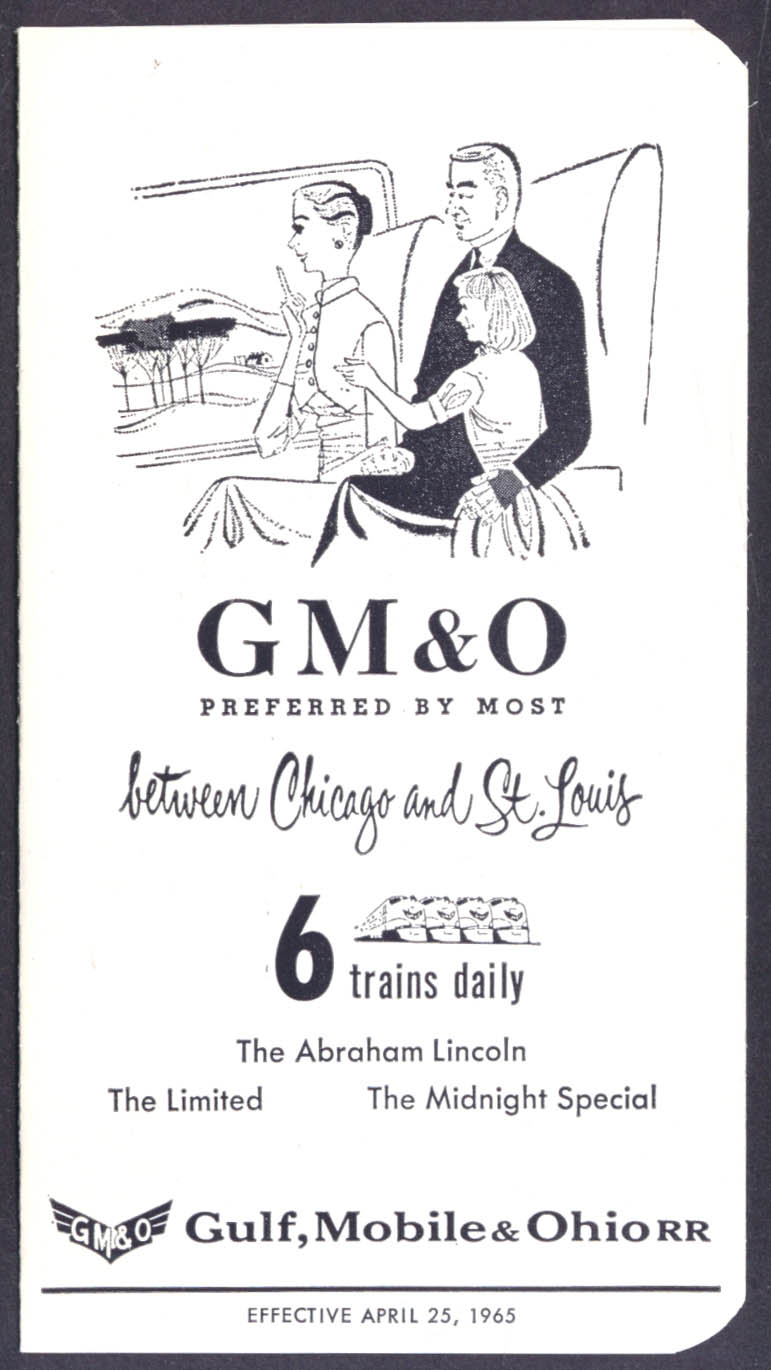 Gulf Mobile & Ohio Railroad Chicago-Springfield-St Louis time table 1965