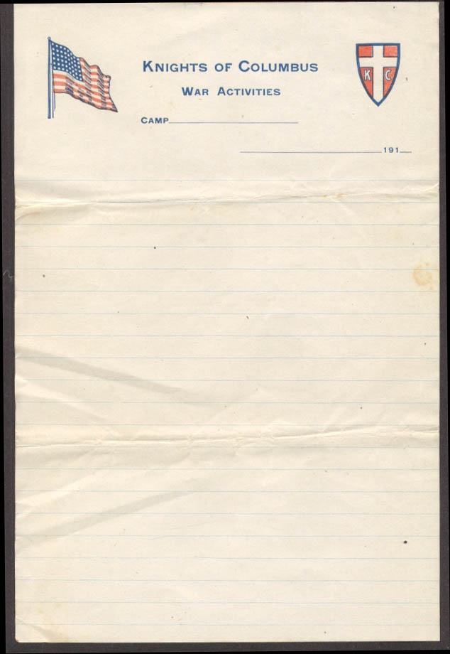 Knights of Columbus War Activities at Camp --- stationery 1910s