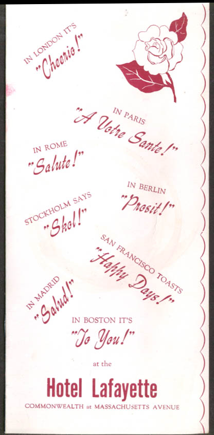 Hotel Lafayette Cocktail & Wine Menu Boston MA ca 1950s