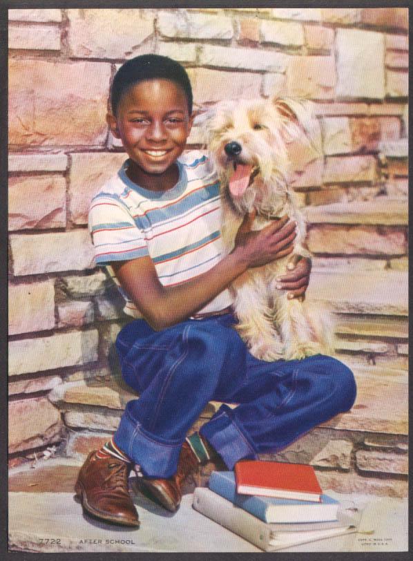 """Negro boy with mutt dog """"After School"""" advertising calendar insert 1950 C Moss"""
