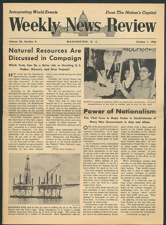 Ike v Stevenson; Asia & Africa Nationalism WEEKLY NEWS REVIEW 10/1 1956