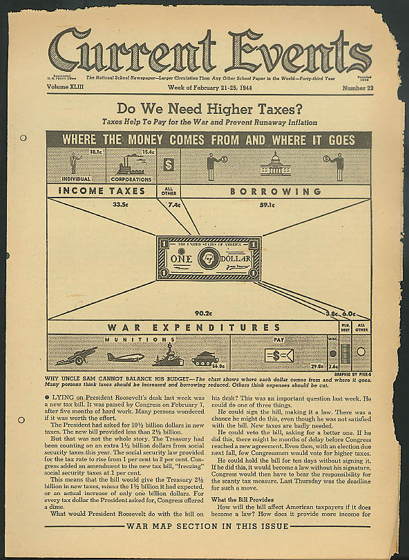 Higher taxes for war? War maps & theatres CURRENT EVENTS 2/21 1944