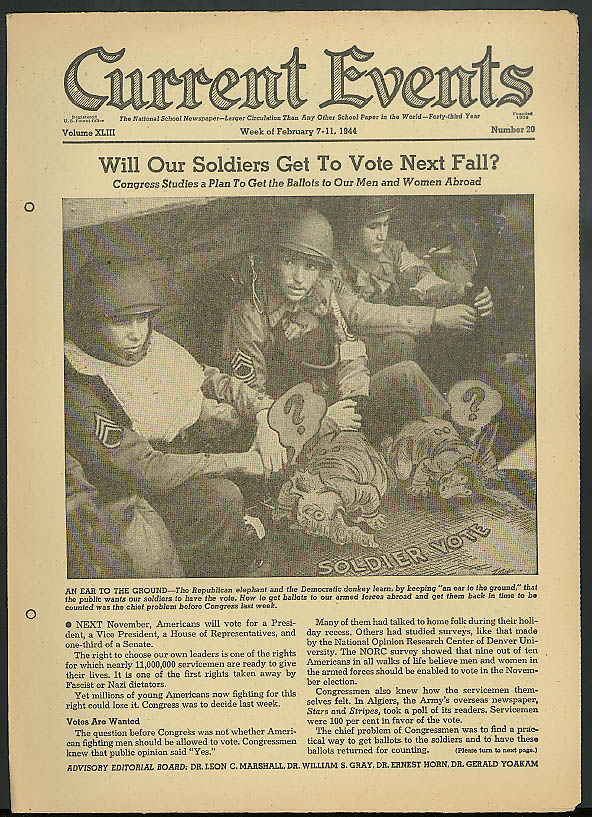 Will soldiers get to vote? Aerial cameras; War news CURRENT EVENTS 2/7 1944