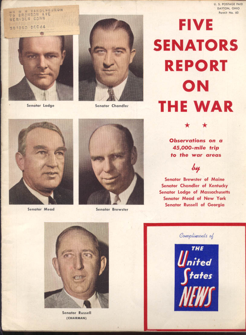 Five Senators Report on The War US News 10/8 1943
