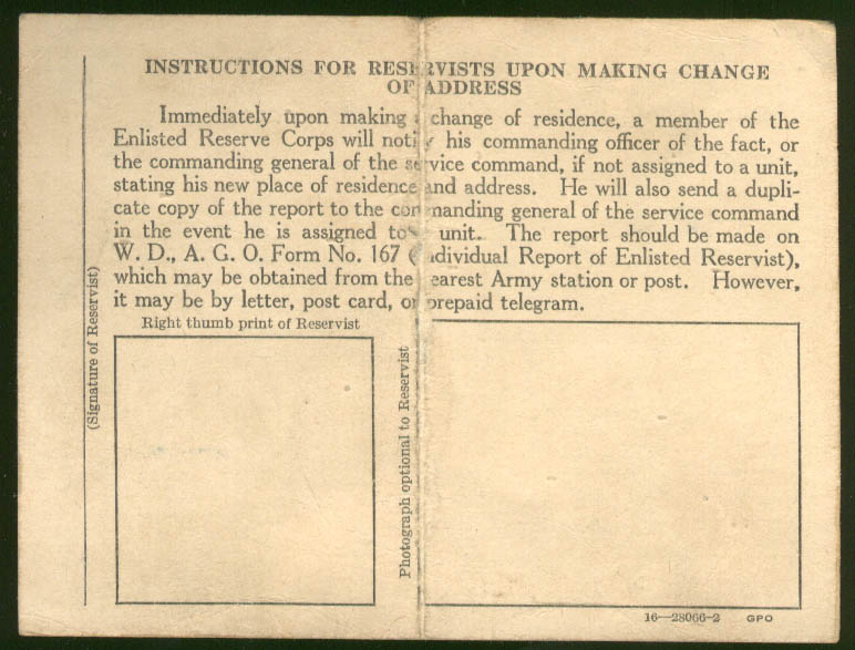 Enlisted Reserve Corps Identification Card issued 9/4 1942