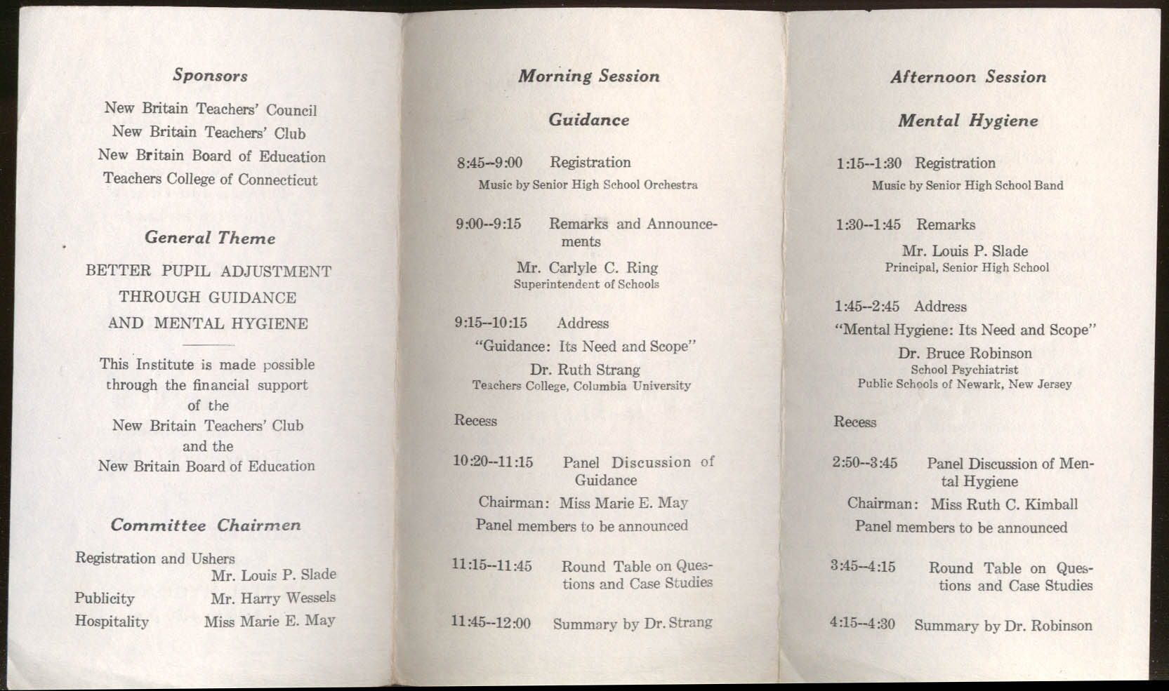 New Britain Teachers & Parents Guidance & Mental Hygiene Conference 1938 CT