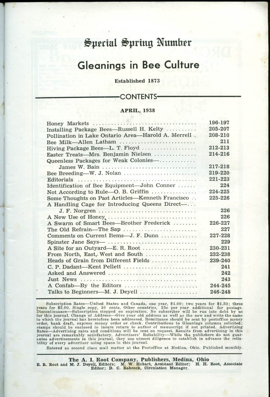 Package bees; Lake Ontario; Bee Milk; Breeding: GLEANINGS in BEE CULTURE 4 1938