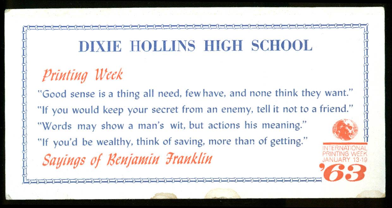 Dixie Hollins High School Printing Week blotter 1963 St Petersburg FL