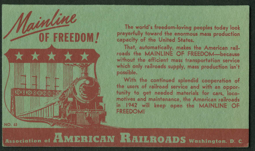 American Railroads Mainline of Freedom! Blotter 1942
