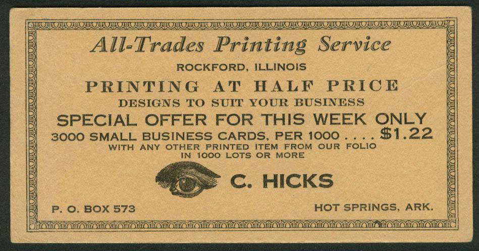 C Hicks All-Trades Printing Service Hot Springs AR blotter 1930s