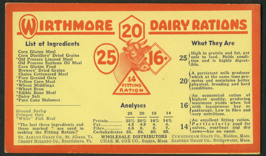 Wirthmore Dairy Rations cow feed Ingredients blotter 1930s