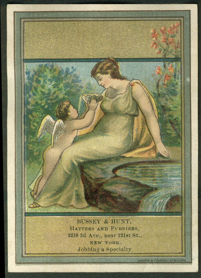 Bussey & Hunt Hatters Furriers NYC trade card cherub & maiden 1880s
