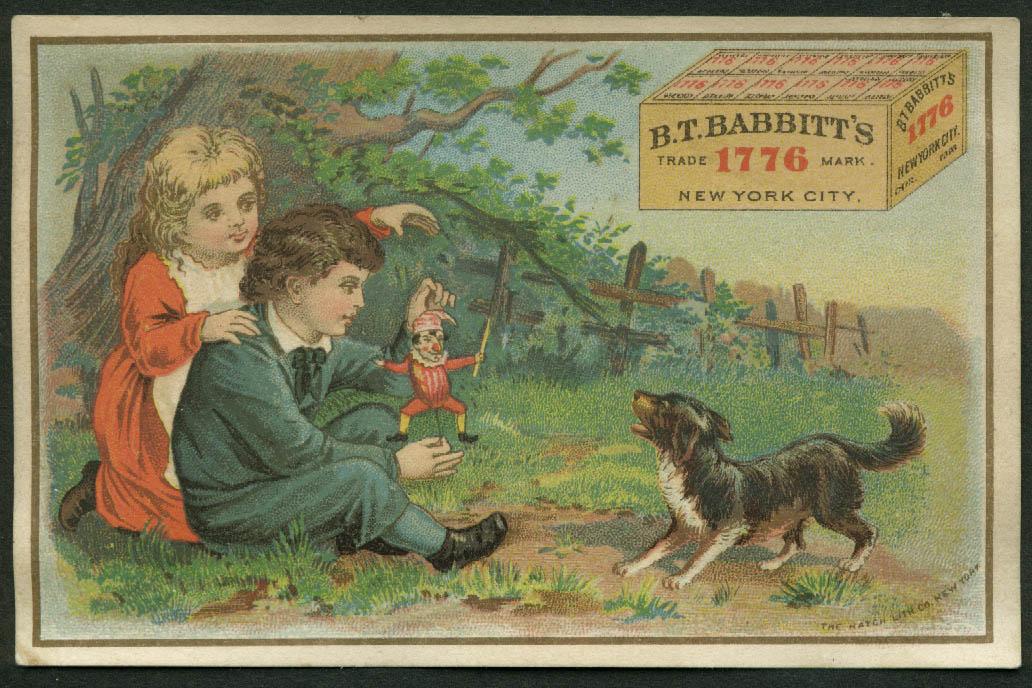 B T Babbitt's Laundry Powder trade card children & harlequin string toy 1880s