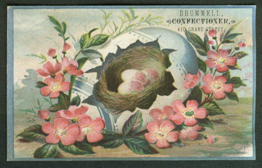 Brummell Confectioner NYC trade card eggs inside large broken egg 1880s